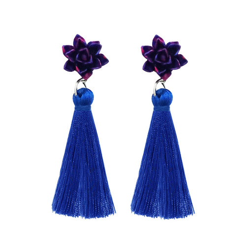 Jeweljunk Blue Thread Gold Plated Tassel Earrings