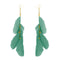 Jeweljunk Gold Plated Green Feather Earrings - 1310970A - H