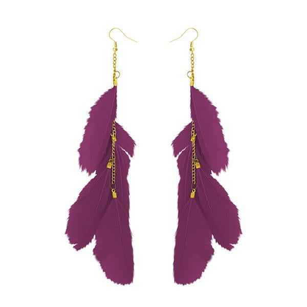 Jeweljunk Gold Plated Purple Feather Earrings - 1310970G - H
