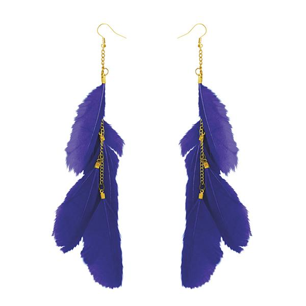 Jeweljunk Gold Plated Blue Feather Earrings - 1310970J - H