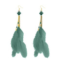 Jeweljunk Gold Plated Green Feather Earrings - 1310971A - H