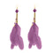 Jeweljunk Gold Plated Purple Feather Earrings