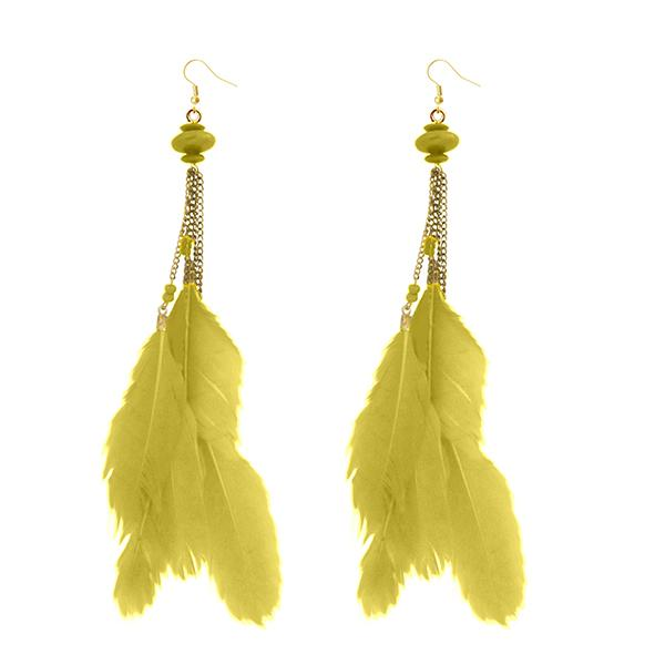 Jeweljunk Gold Plated Yellow Feather Earrings - 1310971E - H