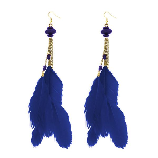 Jeweljunk Gold Plated Blue Feather Earrings - 1310971F - H