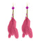 Jeweljunk Gold Plated Pink Feather Earrings - 1310971G - H