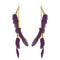 Jeweljunk Gold Plated Purple Feather Earrings - 1310972C - H