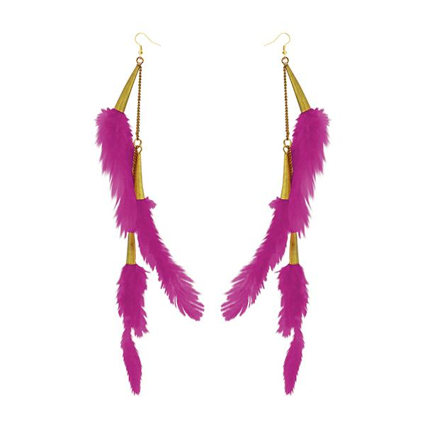 Jeweljunk Gold Plated Pink Feather Earrings - 1310972E - H