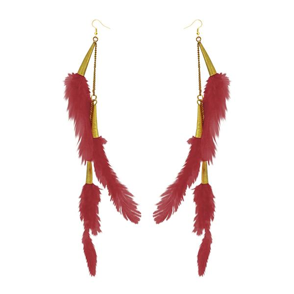 Jeweljunk Gold Plated Red Feather Earrings - 1310972G - H