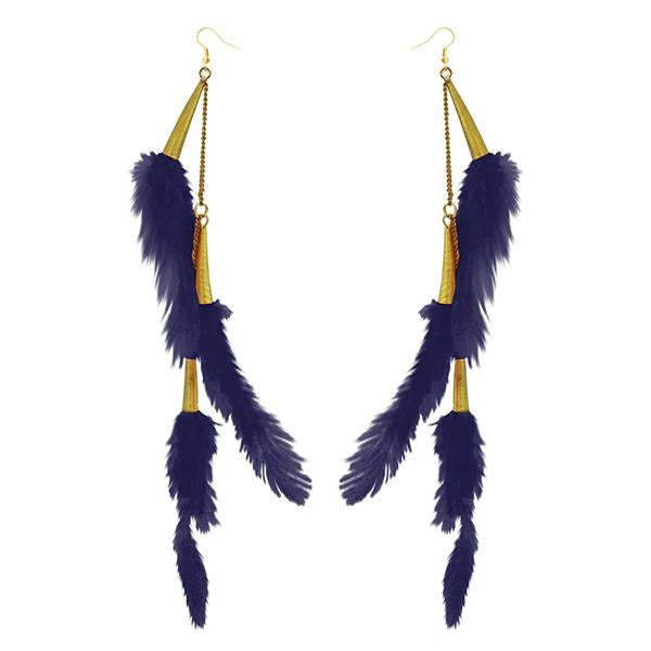 Jeweljunk Gold Plated Purple Feather Earrings - 1310972I - H