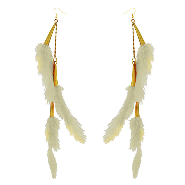 Jeweljunk Gold Plated White Feather Earrings
