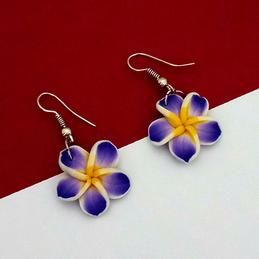 Urthn Blue Floral Gold Plated Dangler Earrings