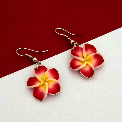 Urthn Maroon Floral Silver Plated Dangler Earrings