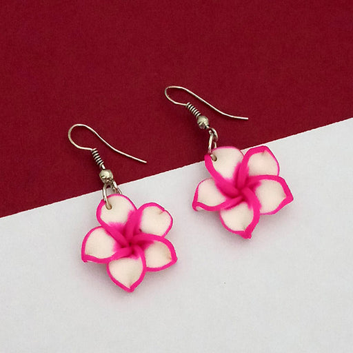 Urthn Silver Plated Pink Floral Dangler Earrings