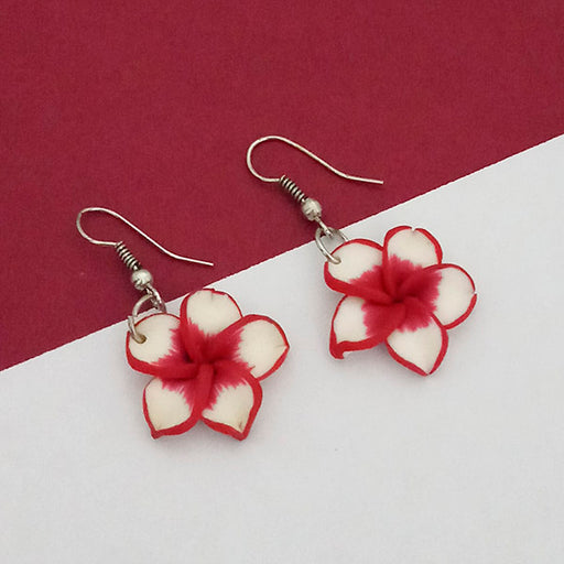 Urthn Red Floral Silver Plated Dangler Earrings