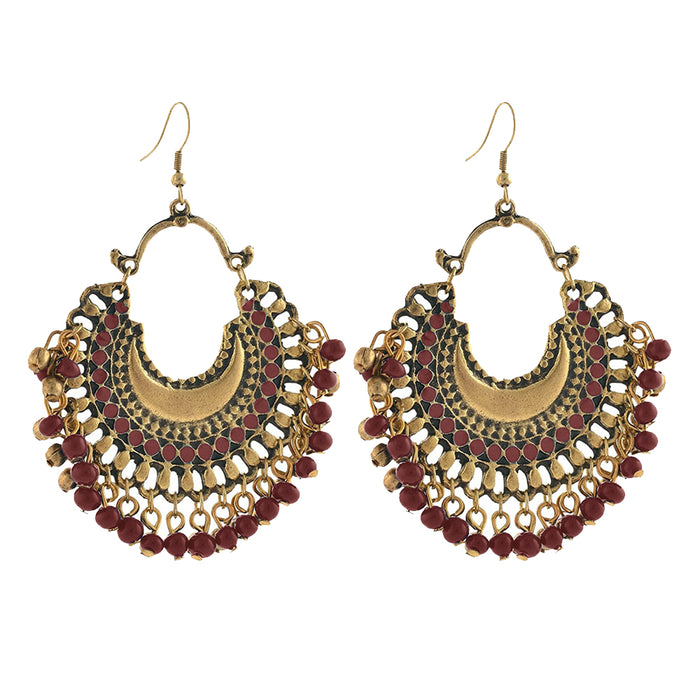 Kriaa Beaded Antique Gold Plated Afghani Dangler Earrings