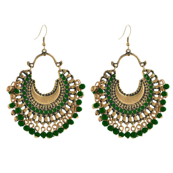 Kriaa Antique Gold Plated Afghani Beaded Dangler Earring