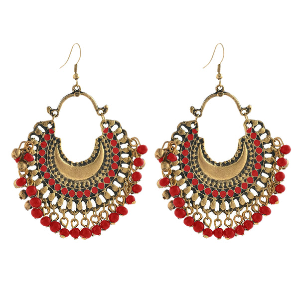 Kriaa Afghani Beaded Antique Gold Plated Dangler Earring