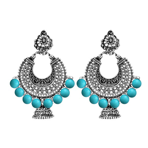 Jeweljunk Rhodium Plated Beads Chandbali Earring