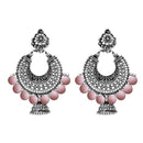 Jeweljunk Rhodium Plated Pink Beads Chandbali Earrings