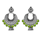 Jeweljunk Green Beads Chandbali Earrings