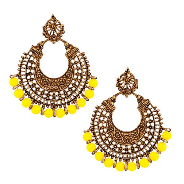 Jeweljunk Yellow Beads Antique Gold Plated Afghani Earrings