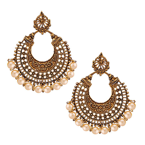 Jeweljunk Antique Gold Plated Afghani Earrings