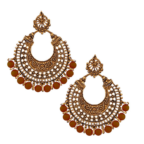 Jeweljunk Brown Beads Antique Gold Plated Afghani Earrings