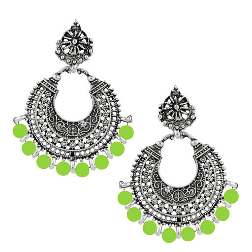 Jeweljunk Rhodium Plated Green Beads Afghani Earrings