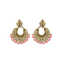 Jeweljunk Antique Gold Plated Pink Beads Afghani Earrings