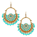 Jeweljunk Blue Beads Antique Gold Plated Afghani Earrings