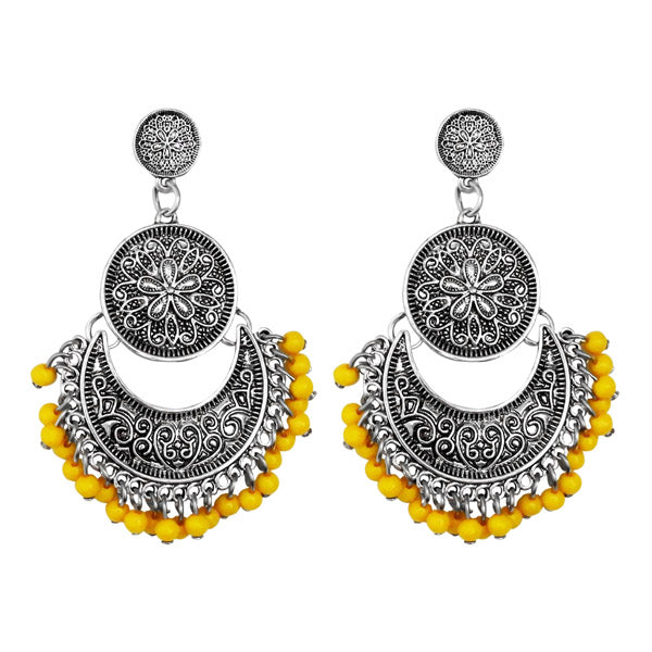 Jeweljunk Silver Plated Yellow Beads Afghani Earrings