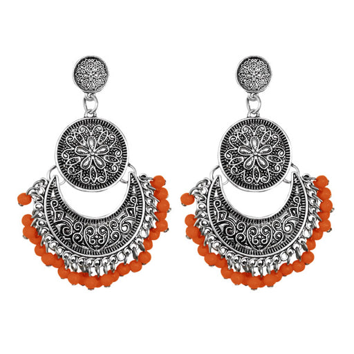 Jeweljunk Silver Plated Orange Beads Afghani Earrings