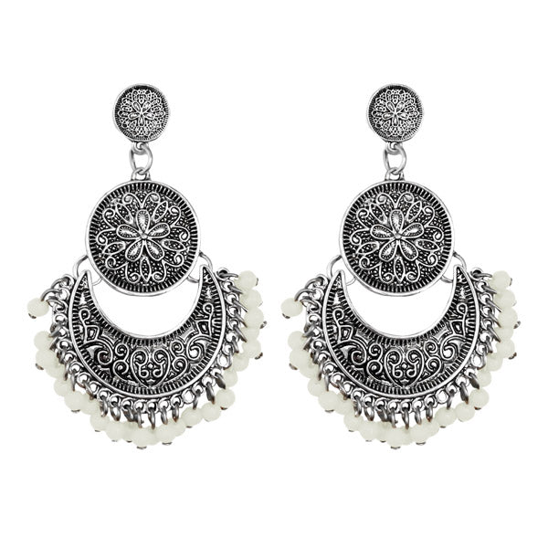 Jeweljunk Silver Plated White Beads Afghani Earrings