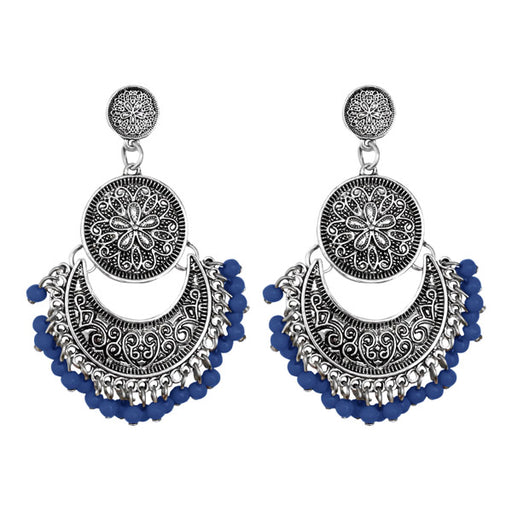 Jeweljunk Silver Plated Blue Beads Afghani Earrings