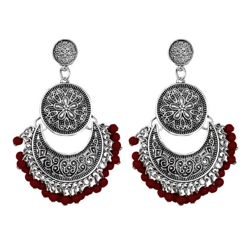 Jeweljunk Silver Plated Maroon Beads Afghani Earrings