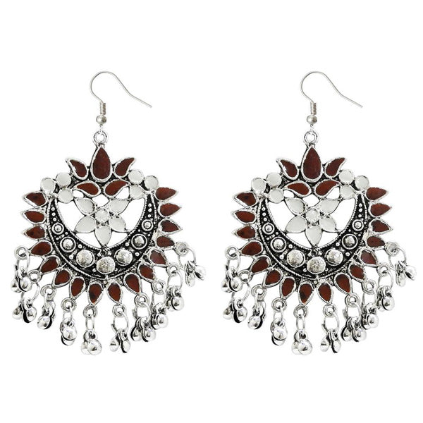 Jeweljunk Brown Meenakari Rhodium Plated Afghani Earrings