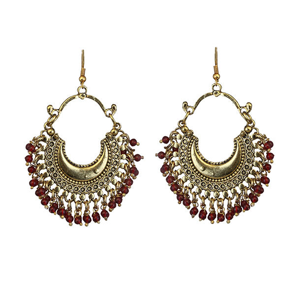 Jeweljunk Maroon Beads Gold Plated Afghani Earrings