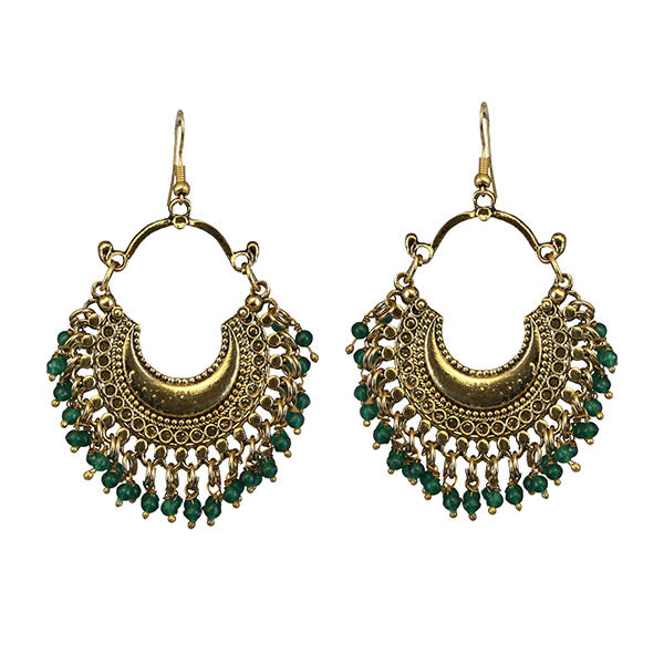 Jeweljunk Green Beads Gold Plated Afghani Earrings