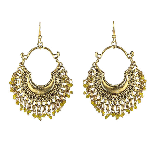 Jeweljunk Yellow Beads Gold Plated Afghani Earrings