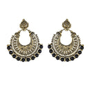 Jeweljunk Black Beads Antique Gold Plated Afghani Earrings