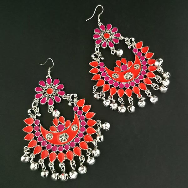 Jeweljunk Orange And Pink Meenakari Afghani Earrings
