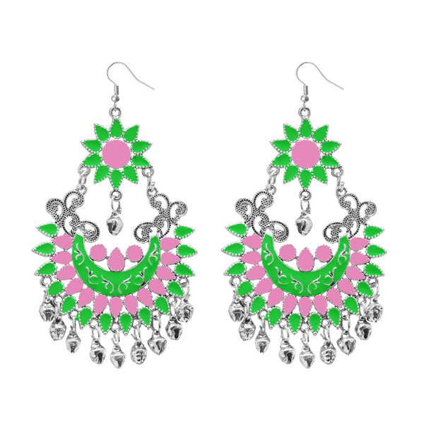 Jeweljunk Green Meenakari Silver Plated Afghani Earrings