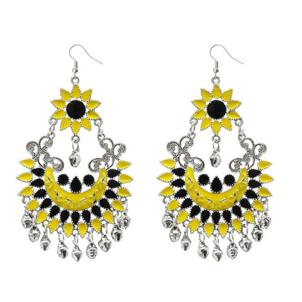 Jeweljunk Silver Plated Yellow Meenakari Afghani Earrings