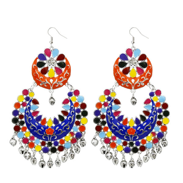 Jeweljunk Multi Meenakari Silver Plated Afghani Earrings