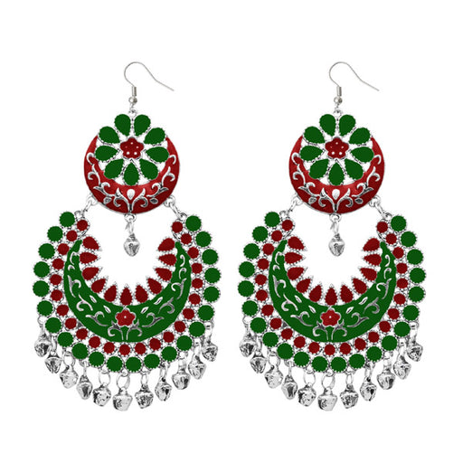 Jeweljunk Silver Plated Green Meenakari Afghani Earrings