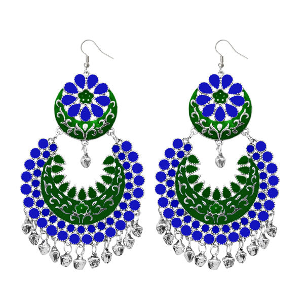Jeweljunk Silver Plated Blue Meenakari Afghani Earrings
