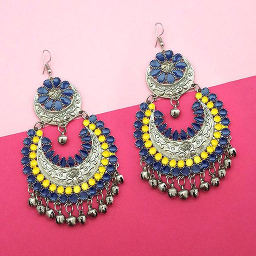 Jeweljunk Blue & Yellow Meenakari Afghani Earrings - 1311058J