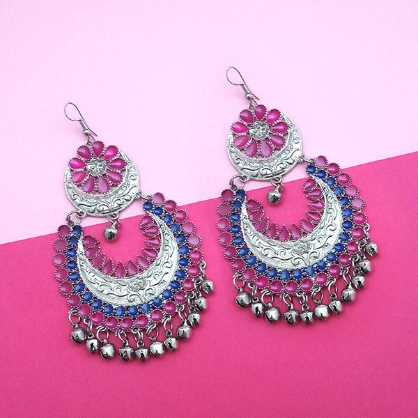 Jeweljunk Pink & Blue Meenakari Afghani Earrings