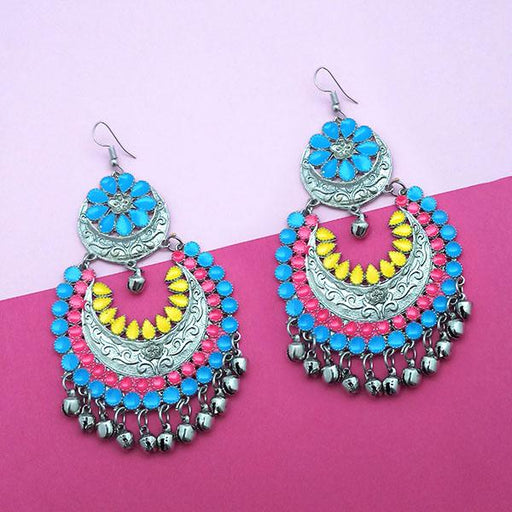 Jeweljunk Silver Plated Multi Meenakari Afghani Earrings - 1311058M