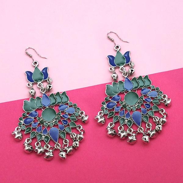 Jeweljunk Green & Blue Meenakari Afghani Earrings